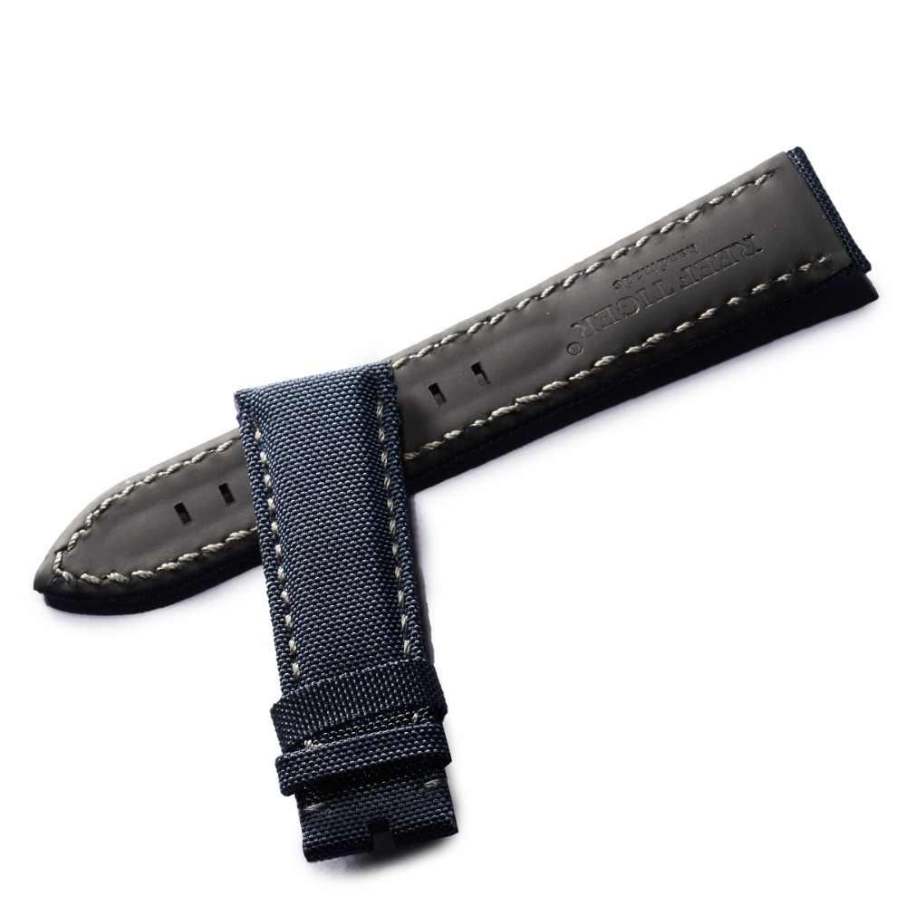 サンゴ礁虎/rtトップ品質ナイロンストラップダイブ腕時計バンド黒ナイロン革ストラップウォッチ男性RGA3035