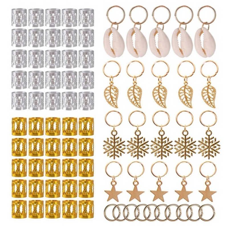 80/90/100 Pcs Emas Rambut Kepang Pria Model Beads Rambut Daun Bintang Diy Rambut Klip Rambut Manset Takut tabung Pesona Gimbal Alat Ekstra
