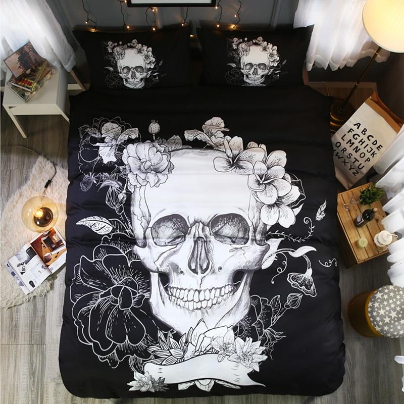 Fanaijia skull bedding set 3d Black and white era skull print Duvet Cover set with pillowcase