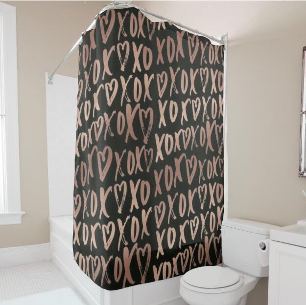 trendy black rose gold hugs and kisses shower curtain bathroom curtain set couple modern bathroom decor accessories printed 180