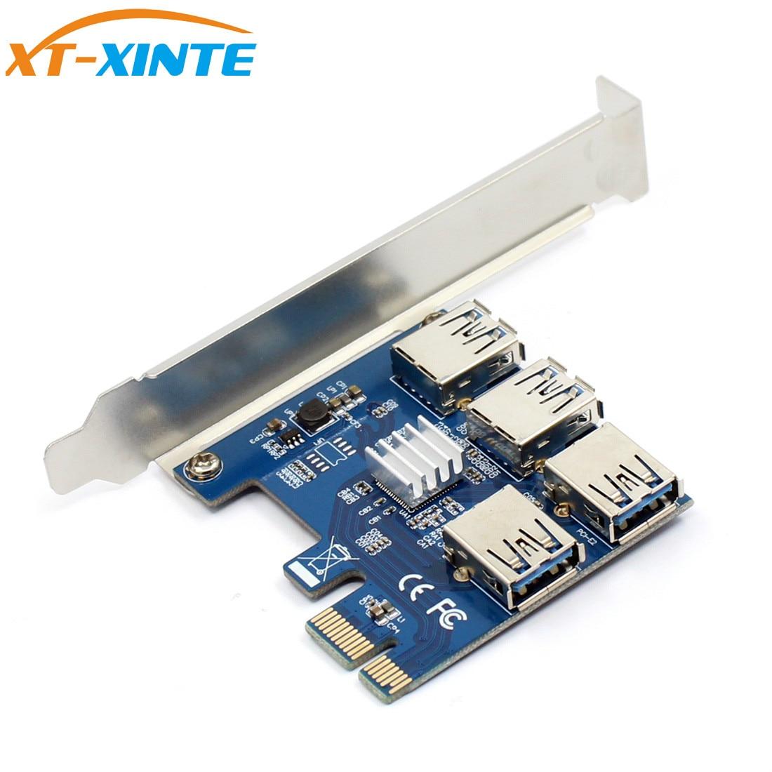 60 cm PCIe 1 a 4 PCIe 16X Riser Card PCI-E 1X a 4 USB 3,0 PCI-e Riser adaptador de puerto multiplicador de BTC minero Bitcoin minería