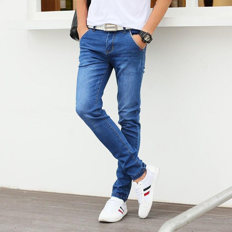 2017 повседневные джинсы Для мужчин брюки классические Дизайн Синие рваные обтягивающие джинсы Для мужчин стрейч Для мужчин S джинсовые штаны Slim Fit Мотобрюки мужской Джинсы для женщин Для мужчин