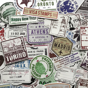 Image 5 - 60pcs Creativo Timbro Postale Timbro Adesivi in Stile del Popolare della Città di Parigi New York Londra Roma Per I Bagagli Valigia Auto Della Decalcomania f4