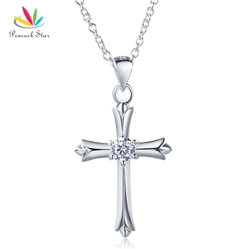Peacock Star Kids Girl Cross Pendant Necklace Solid 925 Ster