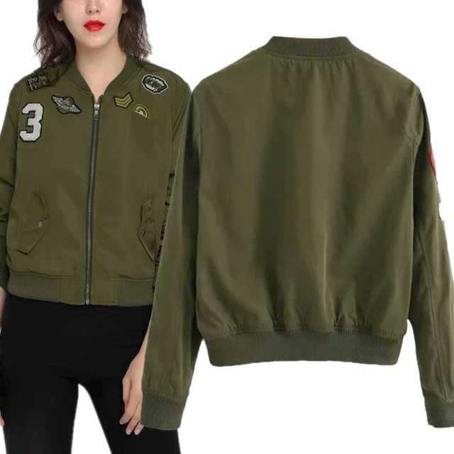 5bfd8a20b US $17.68 |Fashion Army Green Women Bomber Jackets Female Coat Flight Suit  Casual Print Jacket Embroidered Patches Women Basic CoatsLQ-in Basic ...