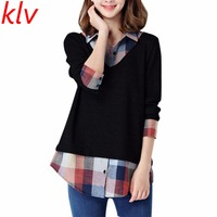 Women Long Sleeve Fake Two Piece Plaid Patchwork Blouse Matenity Mother Pullover Shirt Pregnant Women Tops