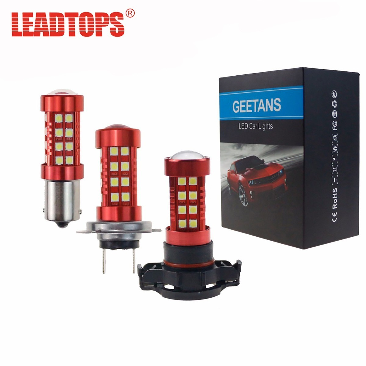 LEADTOPS Car Light Assembly LED H11 DRL Fog Lights LED 9005 9006 H10 H1 H4 H7 1156 H11 Lamps 6000k Super Bright White Bulb CJ