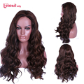 L-email wig 60cm Long Brown Deep Wave Silk Top Synthetic U Part Wig Brazilian Lace Closure for Black Women