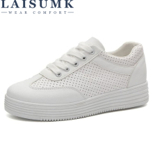 2019 LAISUMK Women New Arrival Sneakers Spring Autumn Pu Leather Casual Shoes Lady Fashion Lace-Up Platform