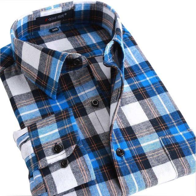 2017 Otoño Tela Escocesa de Los Hombres Camisas Casuales 100% Algodón Marca de Alta calidad Plus Tamaño de Cuello Cuadrado de Manga Larga Vestido de La Manera de Los Hombres camisas