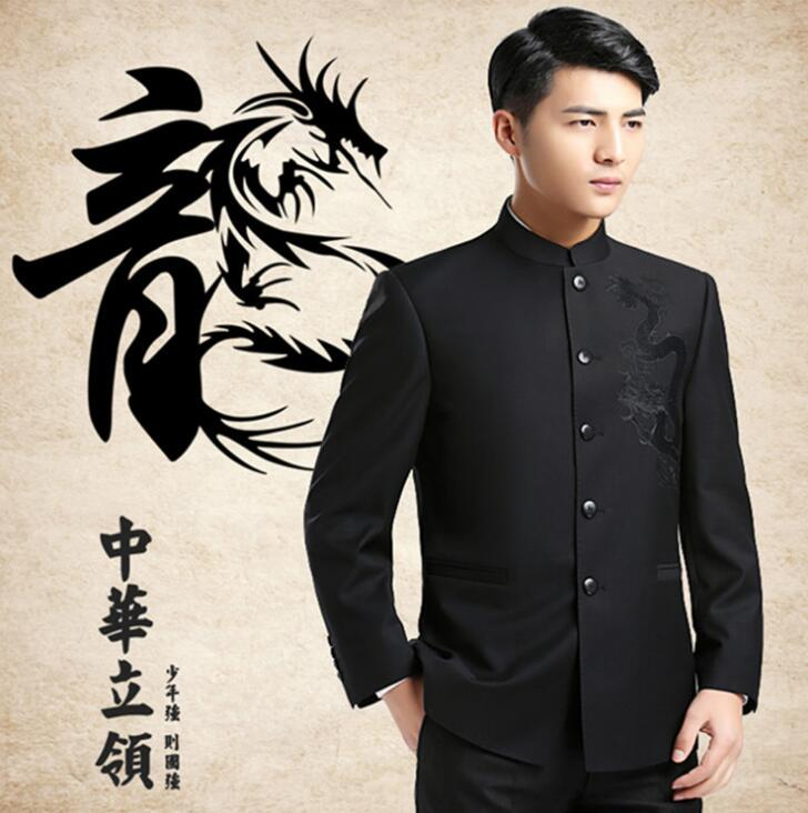 Blazer men formal dress latest coat designs chinese tunic suit men fashion wedding suits for mens stand collar grey business