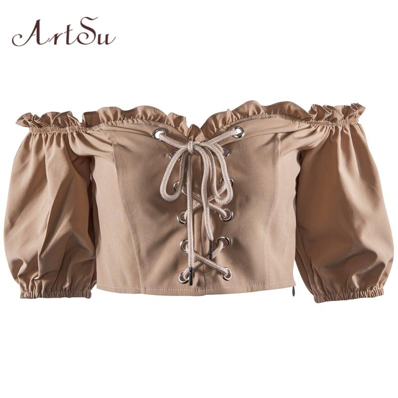 ArtSu Summer Fashion Lace Up T shirt Women Off the Shoulder Tops for Women Slash Neck Short Sleeve Black Tops Ruffles ASTS20299