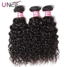 Unice Hair Human Hair Indian Water Wave Bundles 3 Bundle Dea