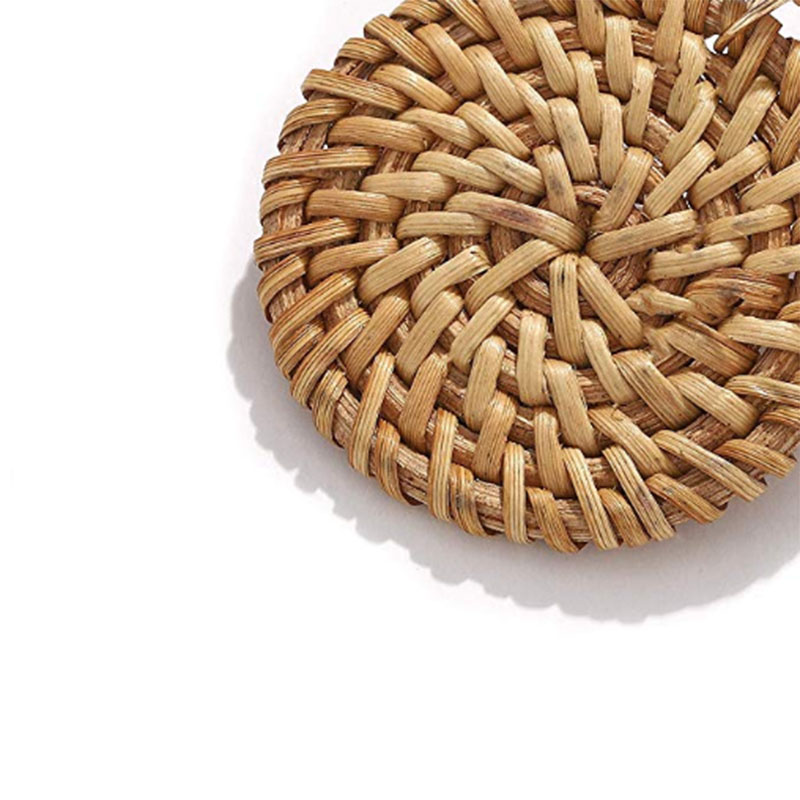Bohemian Wicker Rattan Knit Pendant Earrings Handmade Wood Vine Weave Geometry Round Statement Long Earrings for Women Jewelry 35