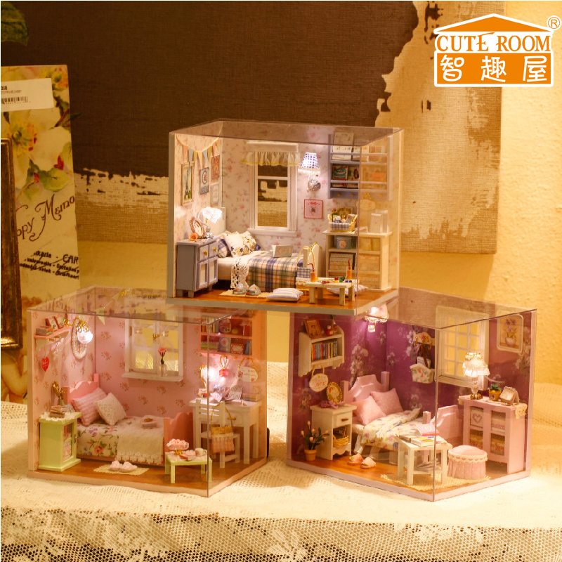 Home Decoration Crafts Diy Doll House Wooden Doll Houses Miniature