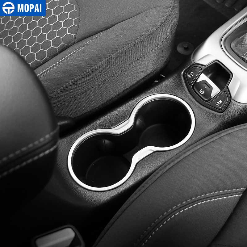 Mopai abs 車インナーフロント & リア水カップホルダーパネル装飾カバートリムステッカージープコンパス 2017 アップ車のスタイリング