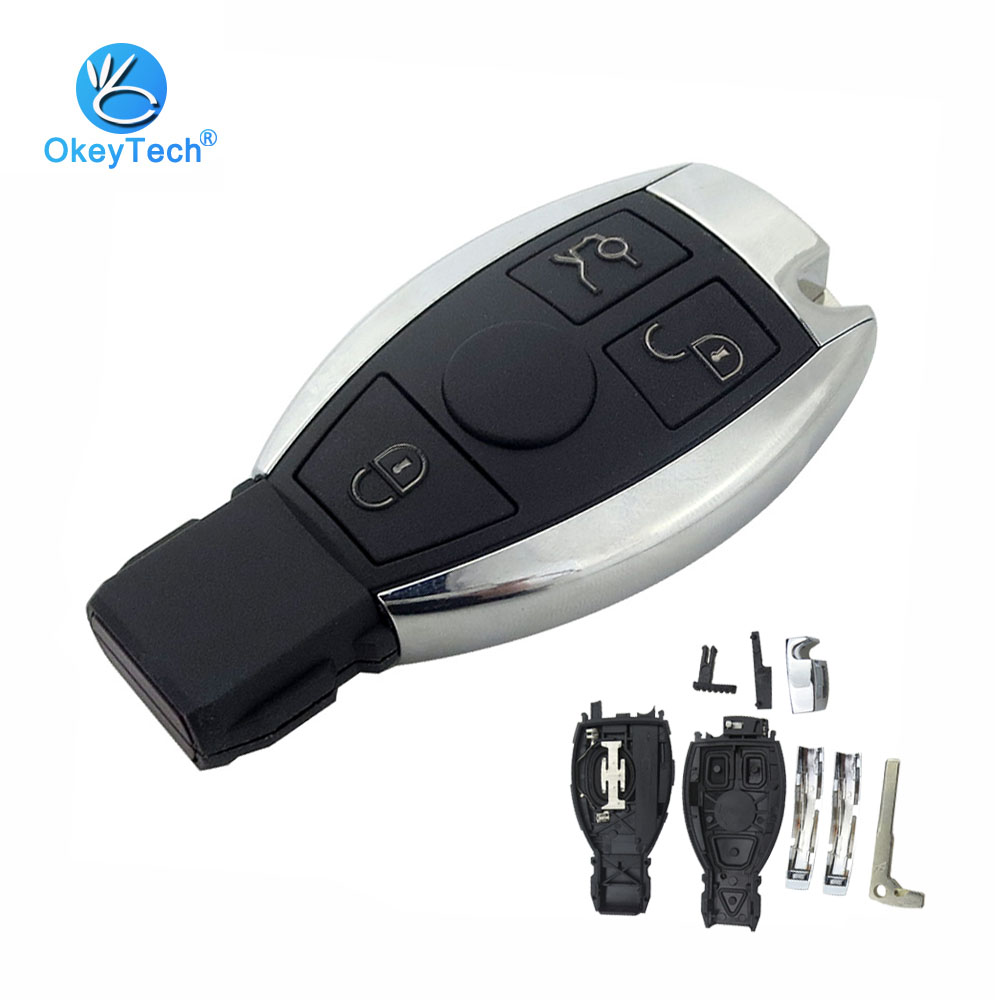 OkeyTech 3 Button For Benz Smart Key Shell Auto Cover Case Fob & Insert Blade Remote Key for Mercedes Benz MB C E ML S SL SLK