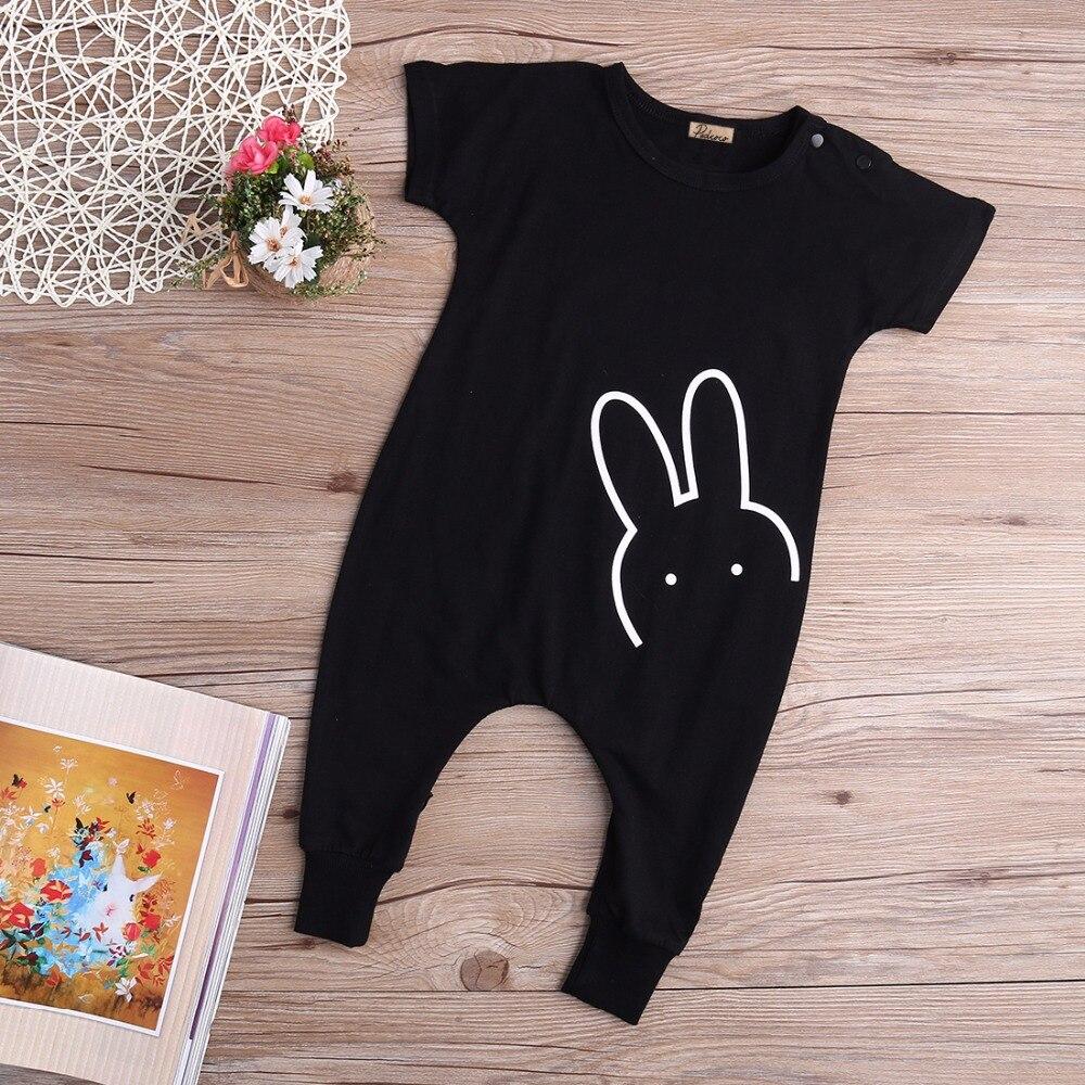 Hot Newborn Kids Babys Boys Girl Cotton Black Casual Short Sleeve Rabbit Romper Long Pants Jumpsuit