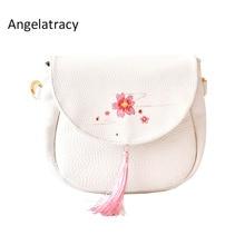 2018 Angelatracy New Arrival Flower Fruits Cherry Blossom Japan Style Tassel PU Lady Women's Shoulder Saddle Flap Crossbody BAG цены