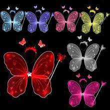 3 шт./компл. Костюм для детей, для малышей Косплэй с «крыльями ангела» Волшебная палочка опора для девочек крылья бабочки и феи Костюм TE889