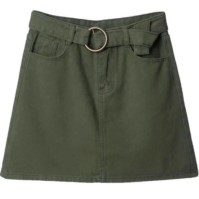 New 2019 Summer Women Jeans Skirt Vintage A-Line Solid Denim Skirt with Belt High Waist Green Red Khaki Skirts falda de mujer