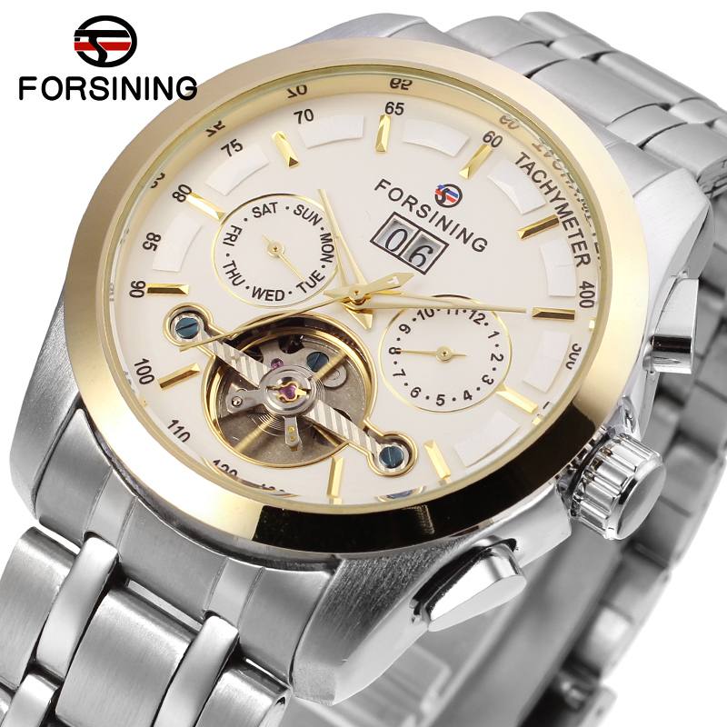 Top Brand Men's Multi Function Forsining Self-winding Mechanical Watch Full Steel Clocks Male Wrist Watches relogio masculino 2015 forsining relogio pmw342