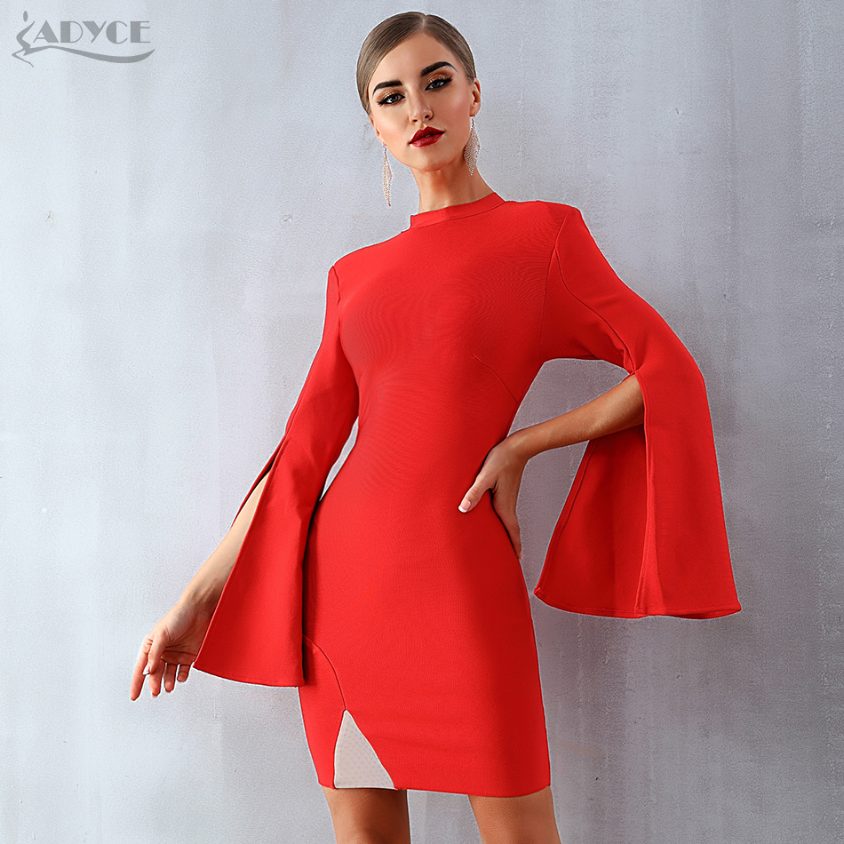 Adyce 2019 New Winter Women Red Bandage Dress Sexy Flare Sleeve Black Club Dress Vestidos Elegant