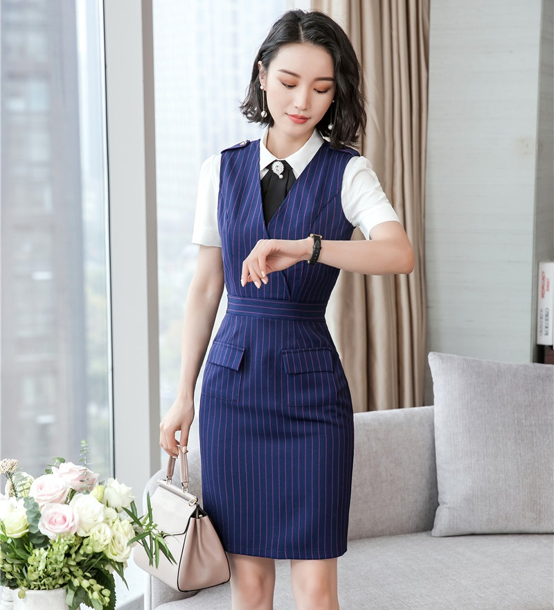 cfcf5f3b6ad5b US $25.56 5% OFF|Summer Fashion Women Dresses Navy Blue Striped Sleeveless  Ladies Office Dress Female Business Clothes-in Dresses from Women's ...