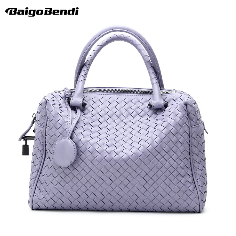 9 Colors Large Capacity Pillow Bag Criss-Cross Woven Leather Handbag Women's Knitting Casual Tote Cross body Bag empire waist criss cross front casual dress