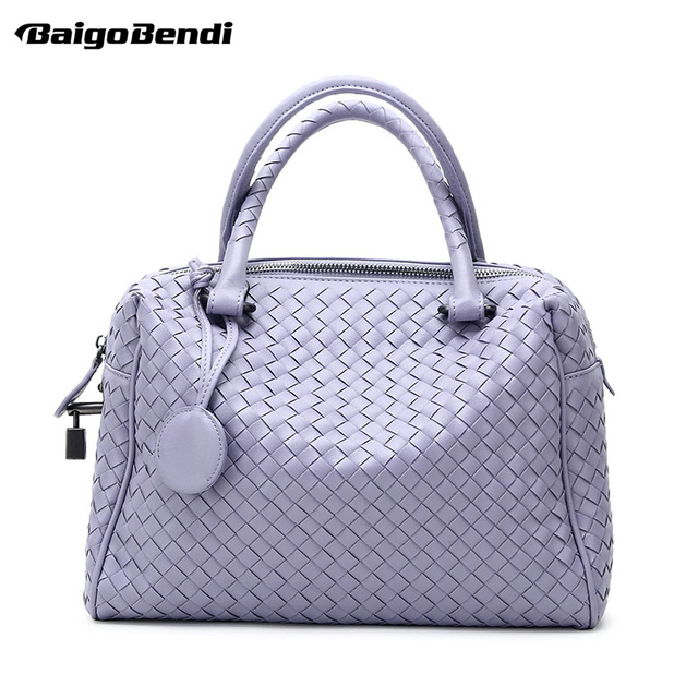 9 Colors Large Capacity Pillow Bag Criss Cross Woven Leather Handbag Women S Knitting Casual Tote