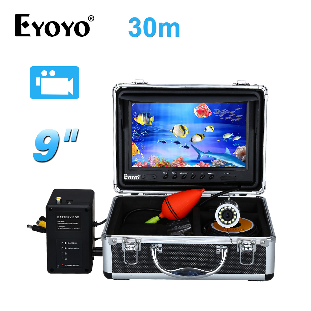 EYOYO 9 vidéo Fish Finder HD 1000TVL 30 M Plein D'argent De Pêche Caméra Sous-Marine Vidéo Enregistrement DVR Blanc LED 8 GB CARTE