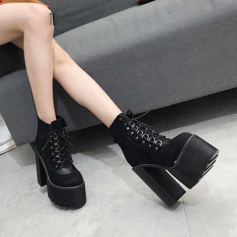 Prova perfetto Toptan 2019 Siyah Bayan Botları Topuk Bahar Kadın Sonbahar Ayakkabı Giyim Yuvarlak Ayak yarım çizmeler Kadın Parti Hediye