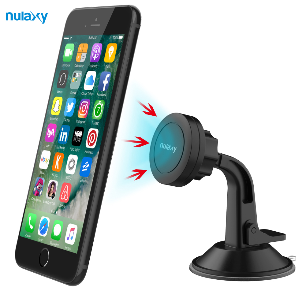 Nulaxy Universal 360 Degree Holder For iPhone 8 7 In Car Sucker Soft Anti Slip Mobile Phone Holder GPS Bracket Car Magnet Holder