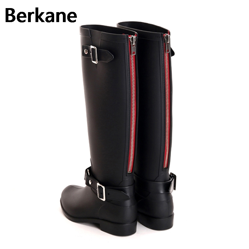 Punk Fashon Rain Boots Women Outdoor Rubber Ladies Water Shoes 2018 Back Zip Pvc High Bo ...