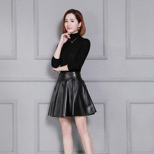 Image 3 - の女性の新しいシープスキンスカートプリーツ革スカート K55