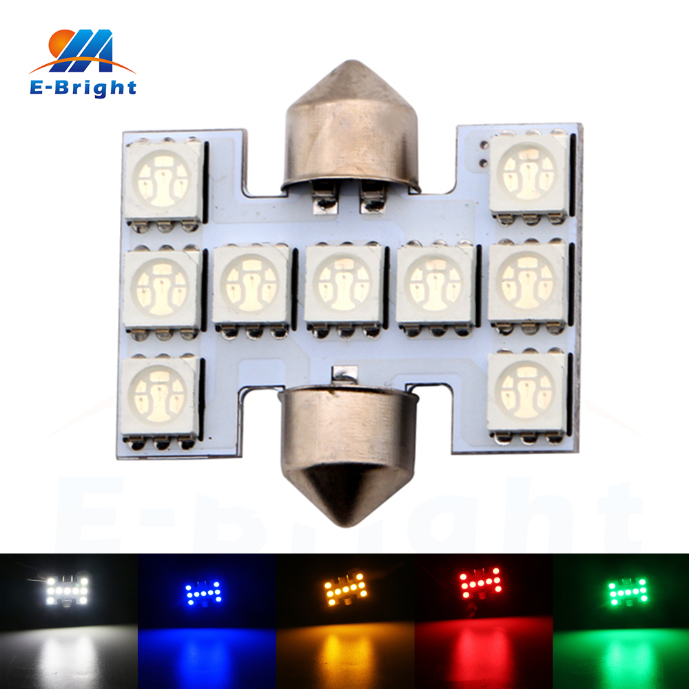 20pcs 12V 31mm 5050 9 SMD LED Festoon Lamp Dome Bulbs Double Tip Light Pate Number Lamp White Blue Amber Red Green Free Shipping