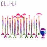 GUJHUI Professional 15 PCS Mermaid Makeup Brushes Kit Set Foundation Blending Powder Eyeshadow Blush Kits Tools