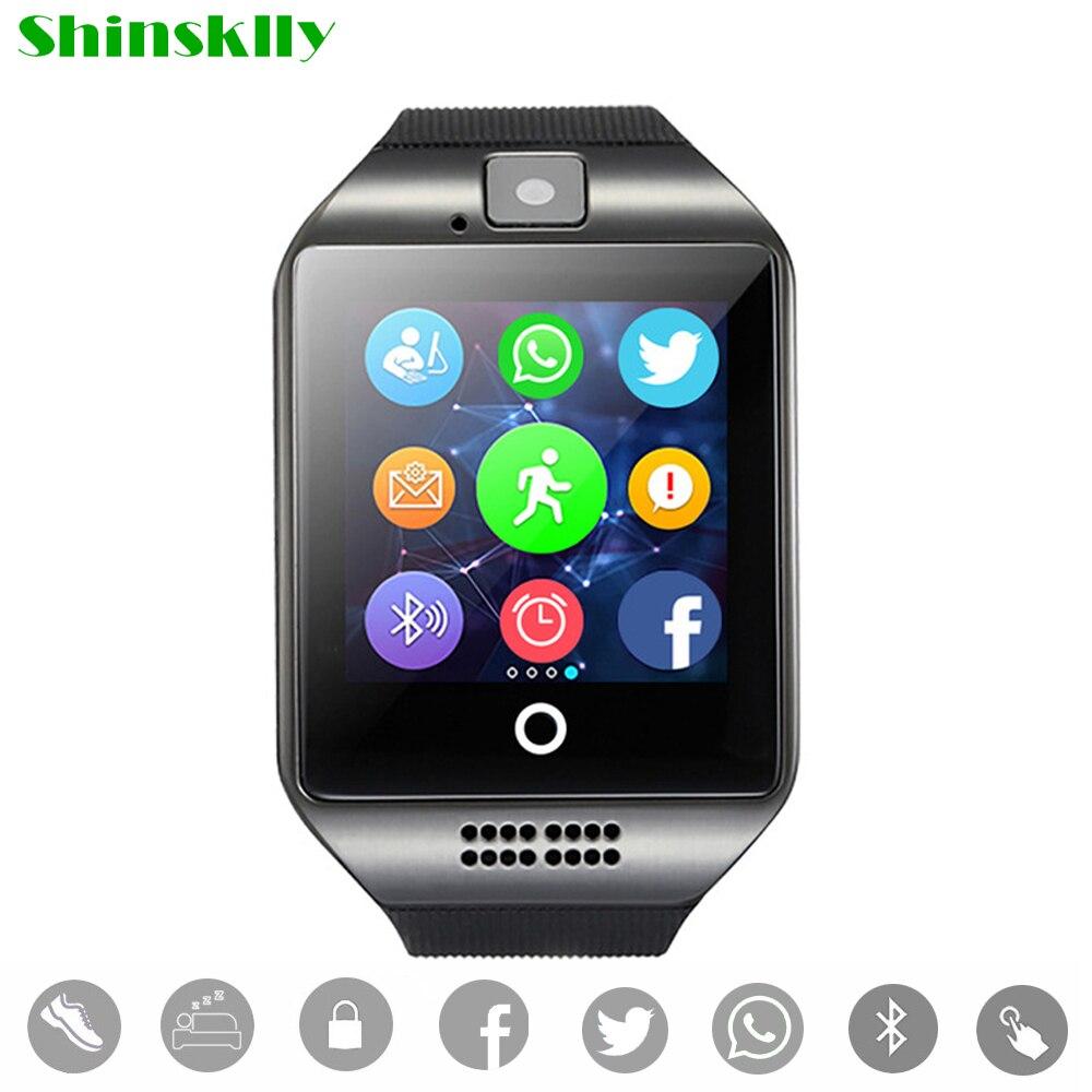 Смарт-часы мужские и женские <font><b>Q18</b></font> с Камера Bluetooth наручные часы Поддержка SIM TF карты синхронизации SMS <font><b>SmartWatch</b></font> для IOS телефонах Android PK A1