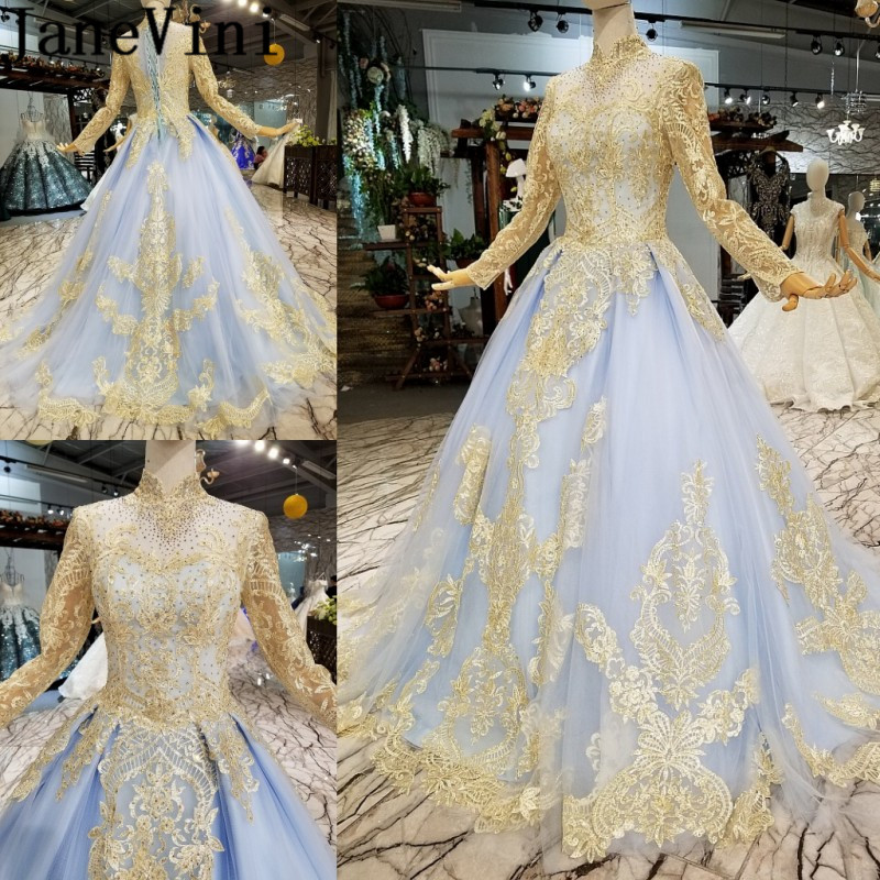 JaneVini Luxury Gold Lace Muslim Long Sleeve Formal Party   Dress   High Neck Beaded Sequins Prom Gowns Bride   Bridesmaid     Dresses