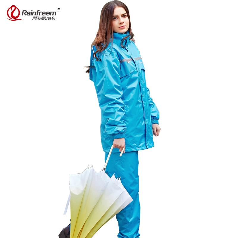 Rainfreem ondoordringbare regenjas dames / heren kap regen poncho waterdichte regen jas broek pak regenkleding heren motorfiets regenkleding