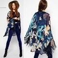 Plus Size XXL 2015 Mulheres Casaco de lã Ocasional Do Vintage Chiffon Kimono Cardigan Solto Casaco Outwear Manga Longa Blusa Mulheres Tops 50