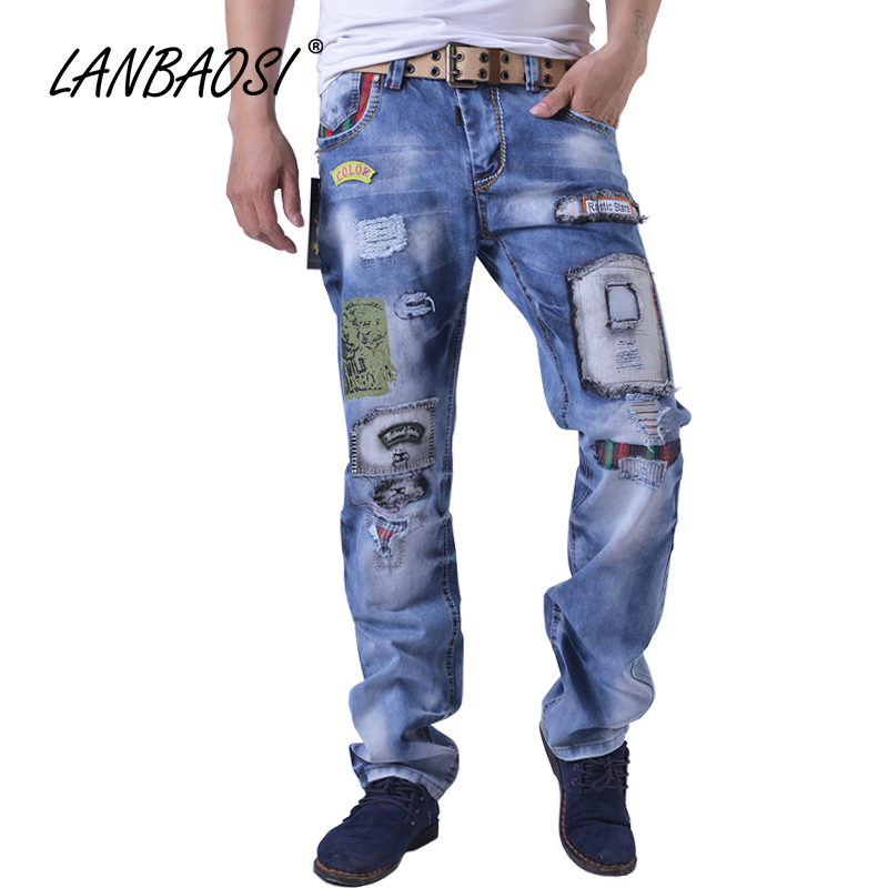 LANBAOSI JEANS Fashion Mens Hip Hop Denim Pants Boys Spring Casual Cotton Hole Torn Ripped Patchwork Straight Trousers