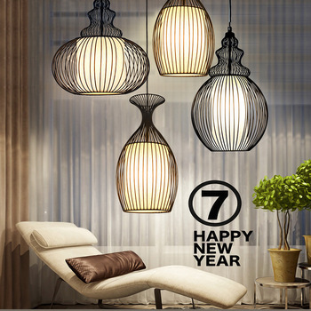 Ac220v E27 American Retro Led Pendant Light Restaurant Bar Cafe Hanging Lamp Bird Cage Wine Cup Iron Lampshade Rope Loft Light