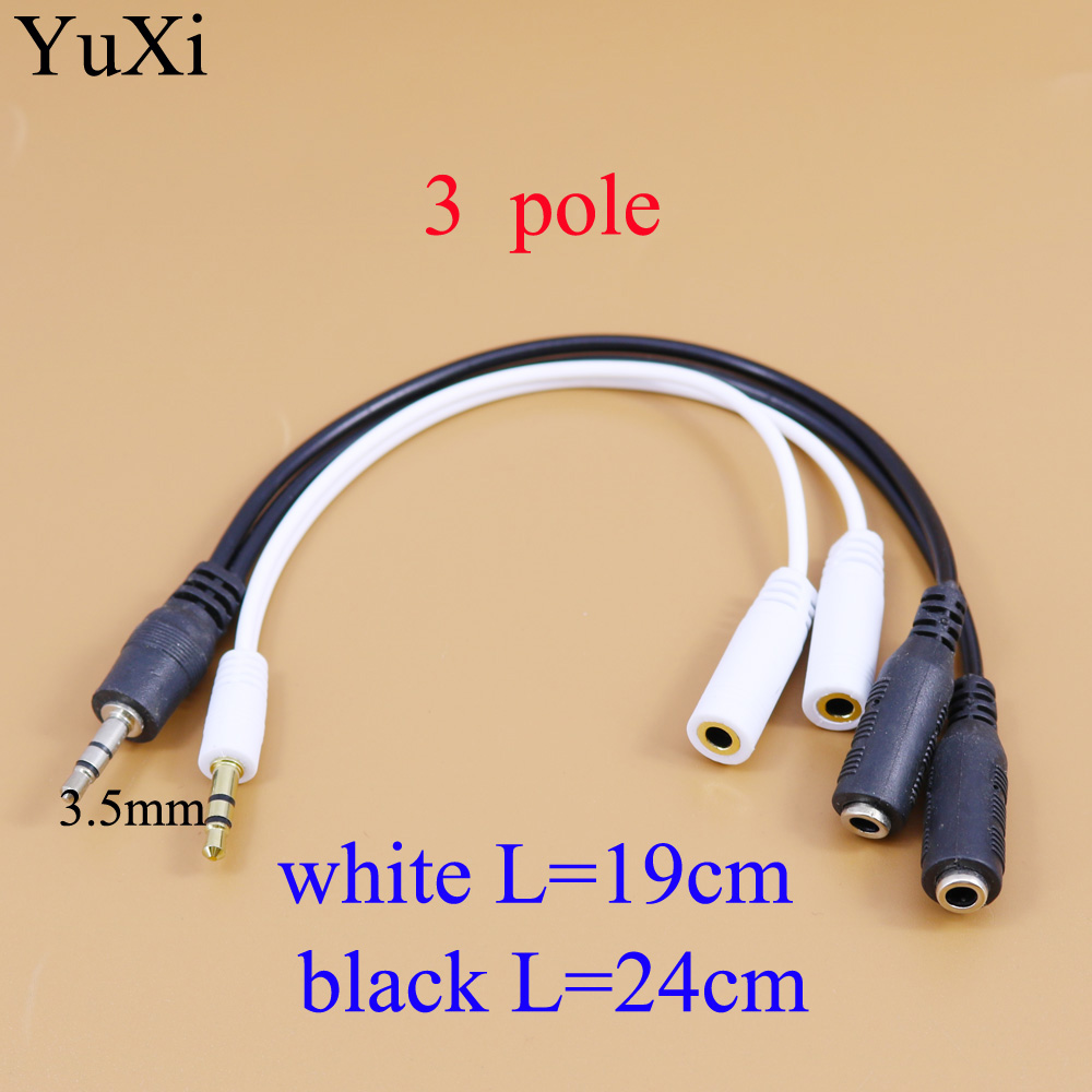 YuXi 3.5mm Male Jack To Two 3.5mm Female Auxiliary Audio Cable 1 To 2 Dual Y Splitter Cable Adapter Earphone Headphone Jack Hot