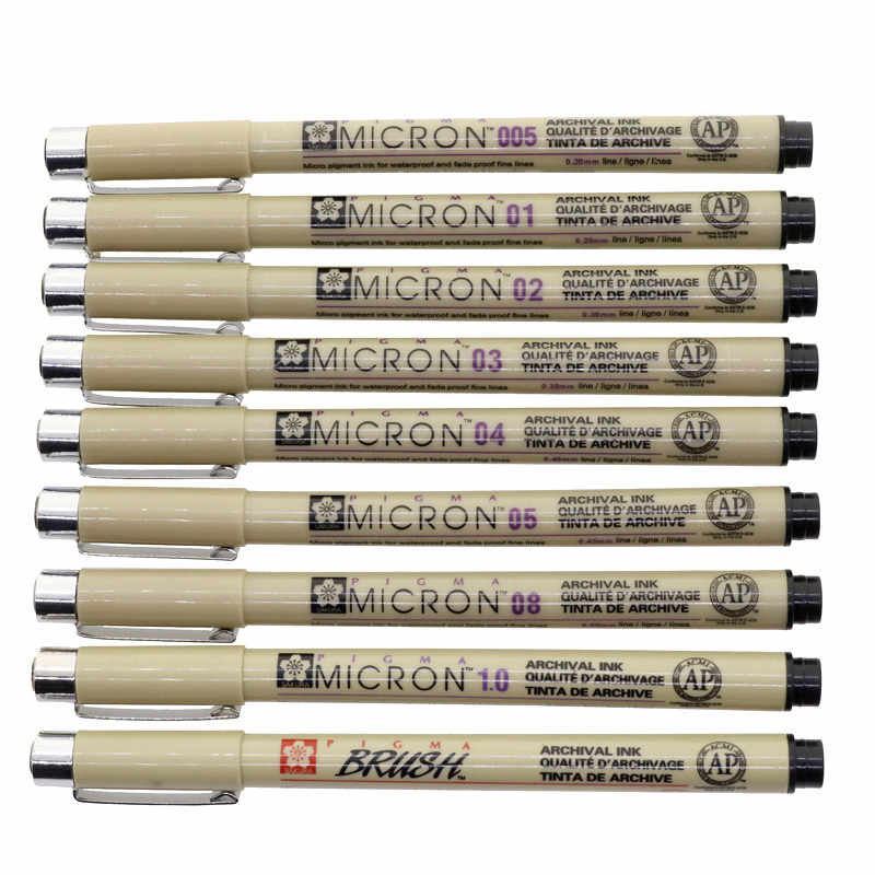 Bolígrafo de Gel diseño cómico pluma de gancho 0,05/0,1/0,2/0,3/0,4/0,5/0,8/1,0/mm pincel de aguja estudiante escuela Oficina papelería