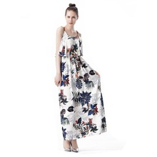 TFGS Womens New Summer Maxi Dresses Ladies Boho Beach Party Dress Sleeveless Sexy Spaghetti Strap Floral Print Vintage A Line