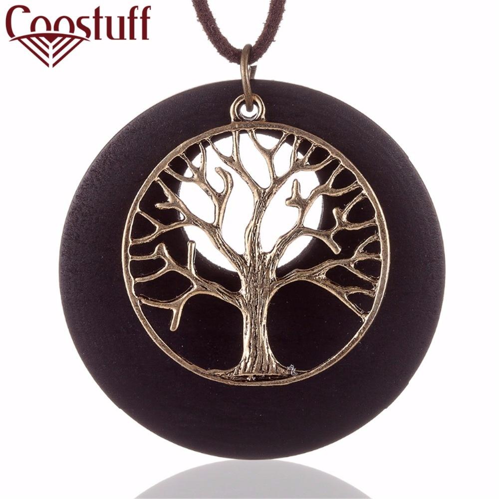 2017 جديد بيان قلائد خمر خشبية شجرة الحياة قلادة طويلة necklacewoman النساء collares موهير colar المختنق