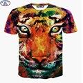 Mr.1991 marca crianças t-shirt para o menino ou meninas Colorido tigre impresso camisa 3D t hop tee topos adolescentes crianças grandes roupas A28
