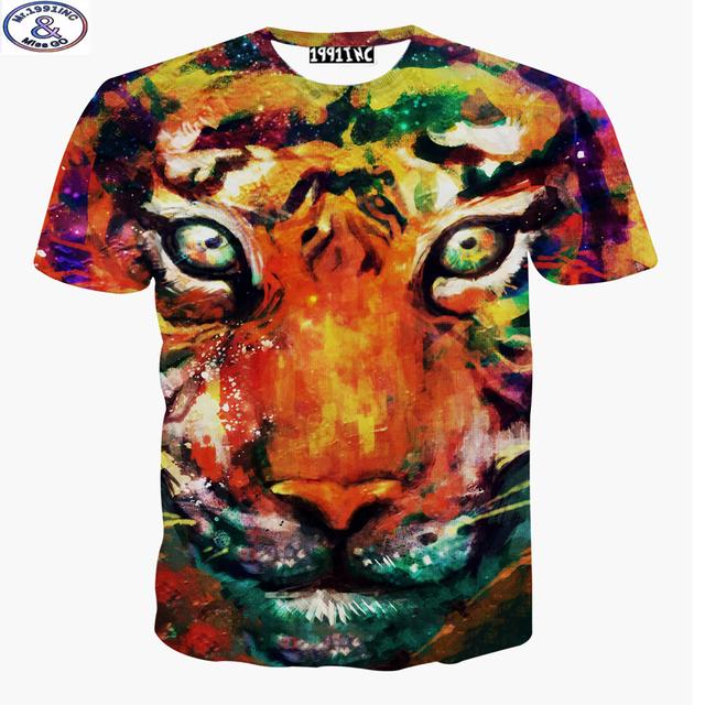 Mr.1991 marca niños camiseta para niño o niñas Colorido tigre impreso 3D camiseta adolescentes hip-hop tops tee ropa de los niños grandes A28