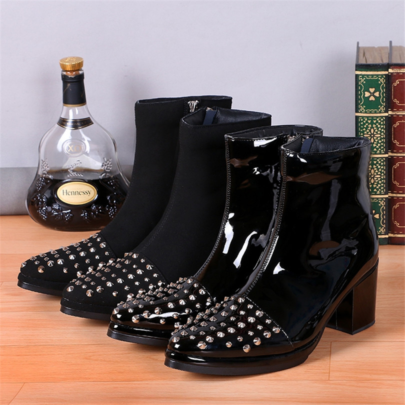 2017 Fashion Mens Botines Hombre Botas Mujer Rivets Ankle Boots Slip On Pointed Toe Medium High Heels Western Men Bota Masculina new pointed toe patchwork tassel boots walkway street snap party botas black slip on ankle high booties women casual botas mujer